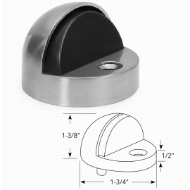 Amdecor D1002/12 Floor Door Stopper Dome high with rubber bumper Satin Chrome Decorative Door Hardware Builders Hardware quick install Home Hardware Home Decor