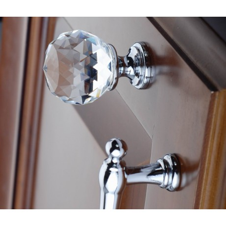N1116/35CP Clear Crystal Knob Big Bright Chrome Polished Base Furniture Knob Drawer Cabinet Pull knob Italy Design Hardware Decorative