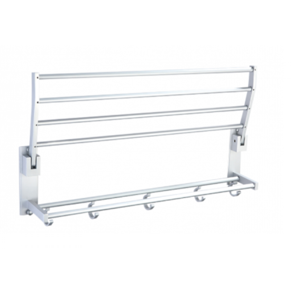 Amdecor B3006/58SC Bathroom Wall Mount Folding Towel Rack Bar Towel Rail Holder, double deck Bath Shelf Storage Rack Rail collapsible, Aluminium Satin Chrome Mat Color Decorative Bathroom Hardware Accessory Set With Modern contemporary Stylish Design