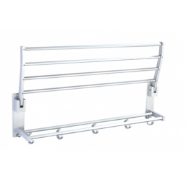 B3006/58SC Bathroom Wall Mount Folding Towel Rack Bar Towel Rail Holder, double deck Bath Shelf Storage Rack Rail collapsible, Aluminium Satin Chrome Mat Color Decorative Bathroom Hardware Accessory Set With Modern contemporary Stylish Design
