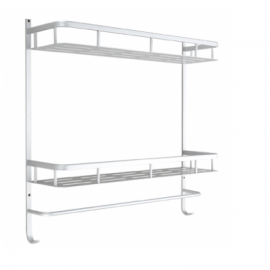 B3009/50SC Bathroom Wall Mount Folding Towel Rack Bar Towel Rail Holder, double deck Bath Shelf Storage Rack Rail, Aluminium Satin Chrome Mat Color Decorative Bathroom Hardware Accessory Set With Modern contemporary Stylish Design
